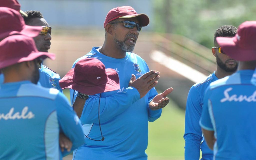 In this January 1, 2020 file photo, West Indies coach Phil Simmons speaks to the team before training, a day before his squad were due to play Ireland, in the Colonial Medical Insurance One Day International series, at the Grenada National Stadium, St George's. - CWI Media