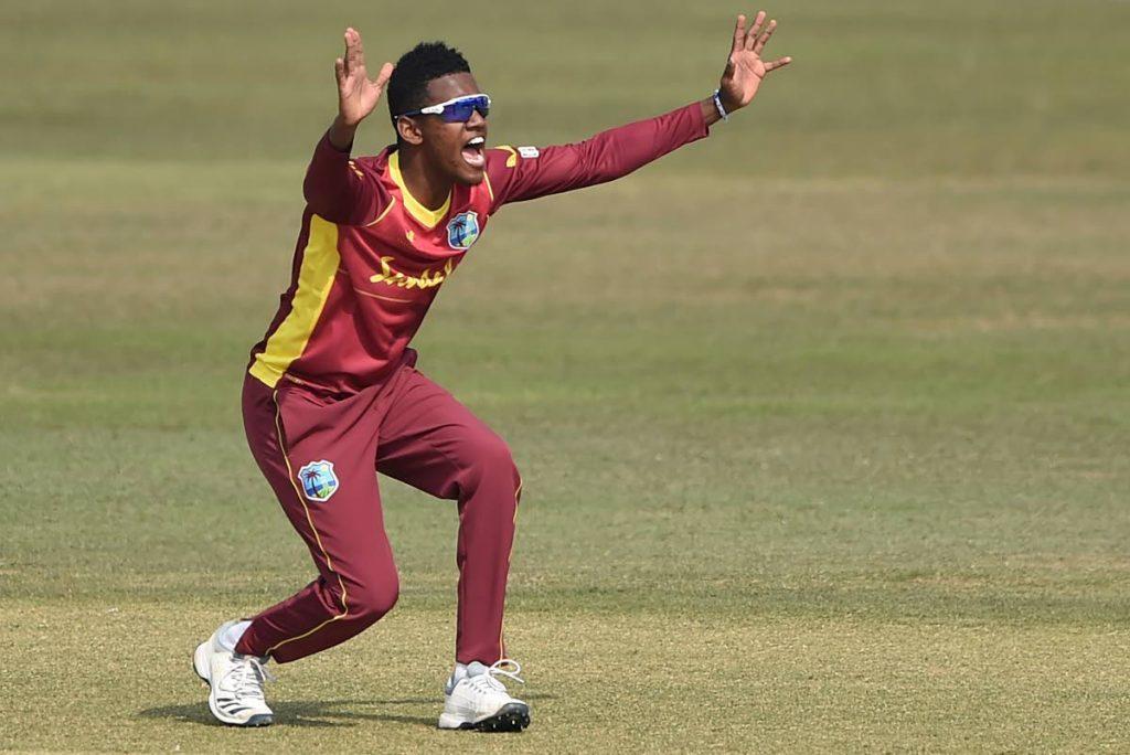 West Indies' Akeal Hosein. -