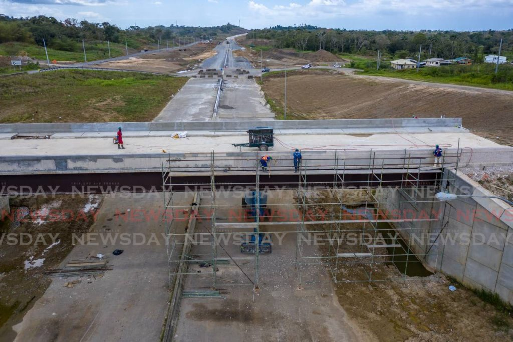 An aerial view of work on the Grant Trace overpass in Rousillac, south Trinidad. A US$175 million loan from the Development Bank of Latin America will fund Trinidad and Tobago upgrade of its transport infrastructure. File photo/Jeff Mayers -