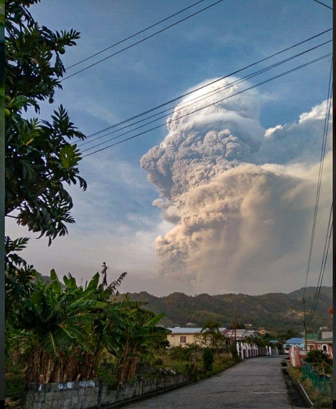 Ash clouds tower above La Soufriere as seen from Layou, St Vincent and the Grenadines in April. - Photo courtesy Bria King
