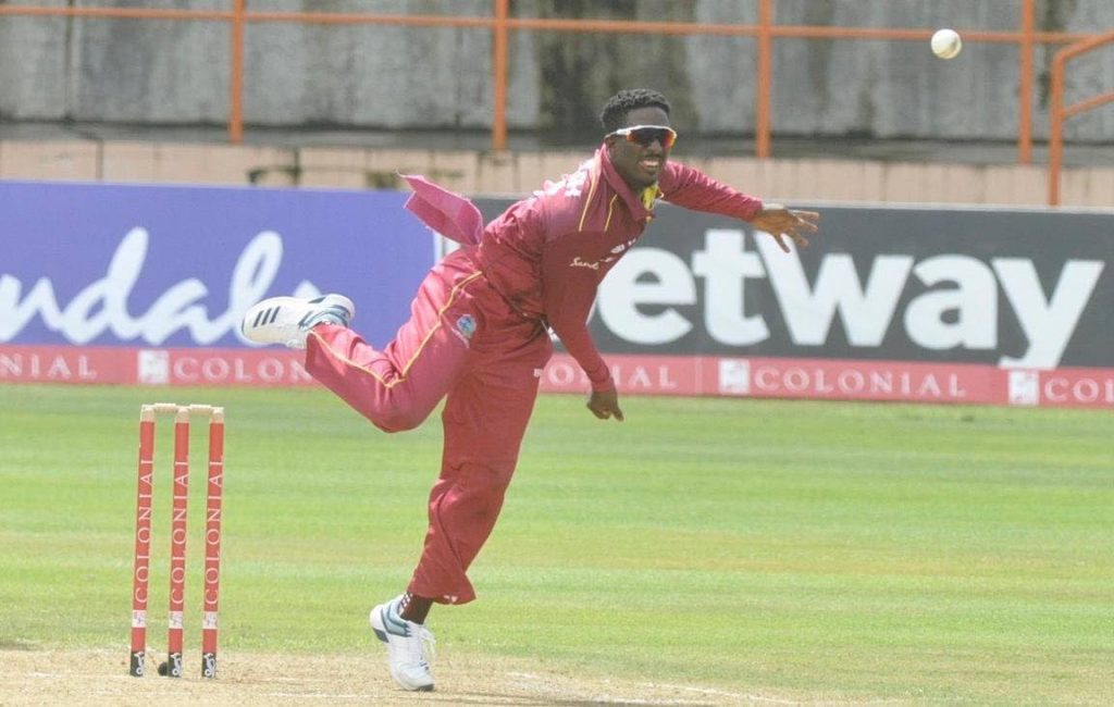 West Indies leg-spinner Hayden Walsh Jnr grabbed 5/39 in ten overs during the first ODI match against Australia, on Tuesday, at Kensington Oval, Barbados.