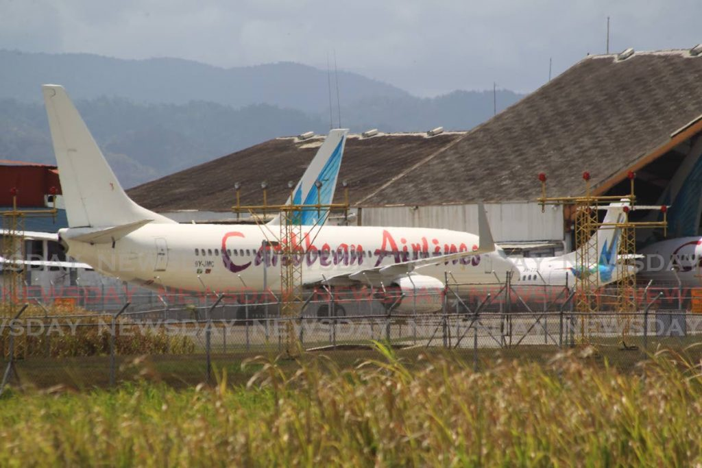 Caribbean Airlines planes at the hangar in Piarco International Airport. - FILE PHOTO/ROGER JACOB