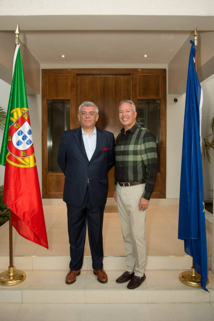 APPOINTED:  Portuguese Ambassador to TT Carlos Sousa Amaro, left, and newly appointed Honorary Consul William Ferreira.  -