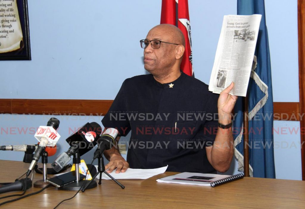OWTU president general Ancel Roget speaks at a press conference on Tuesday at the union's Paramount Building headquarters in San Fernando. Photo by Ayanna Kinsale
