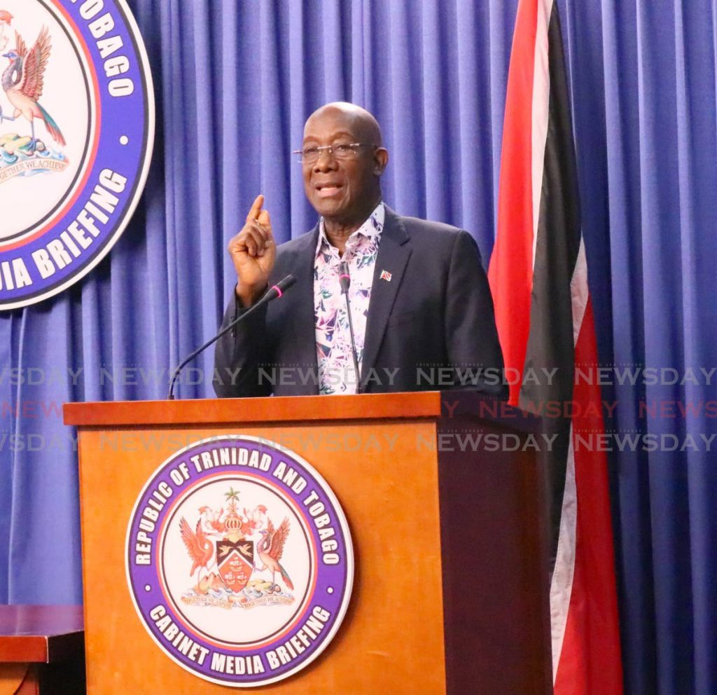 Prime Minister Dr Keith Rowley makes a point to journalists at a recent press conference. FILE PHOTO -