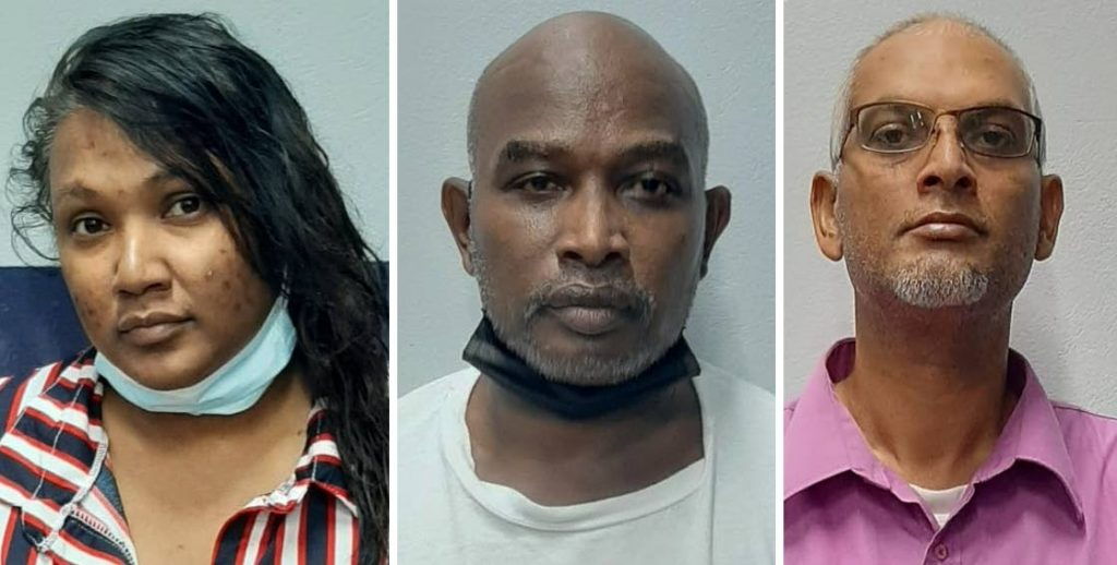 CHARGED: From left, Vanessa Sam, Shellford Roberts and Shaneil Hosein who are charged with defrauding people out of $435,000 in an HDC housing scam. PHOTOS COURTESY TTPS -