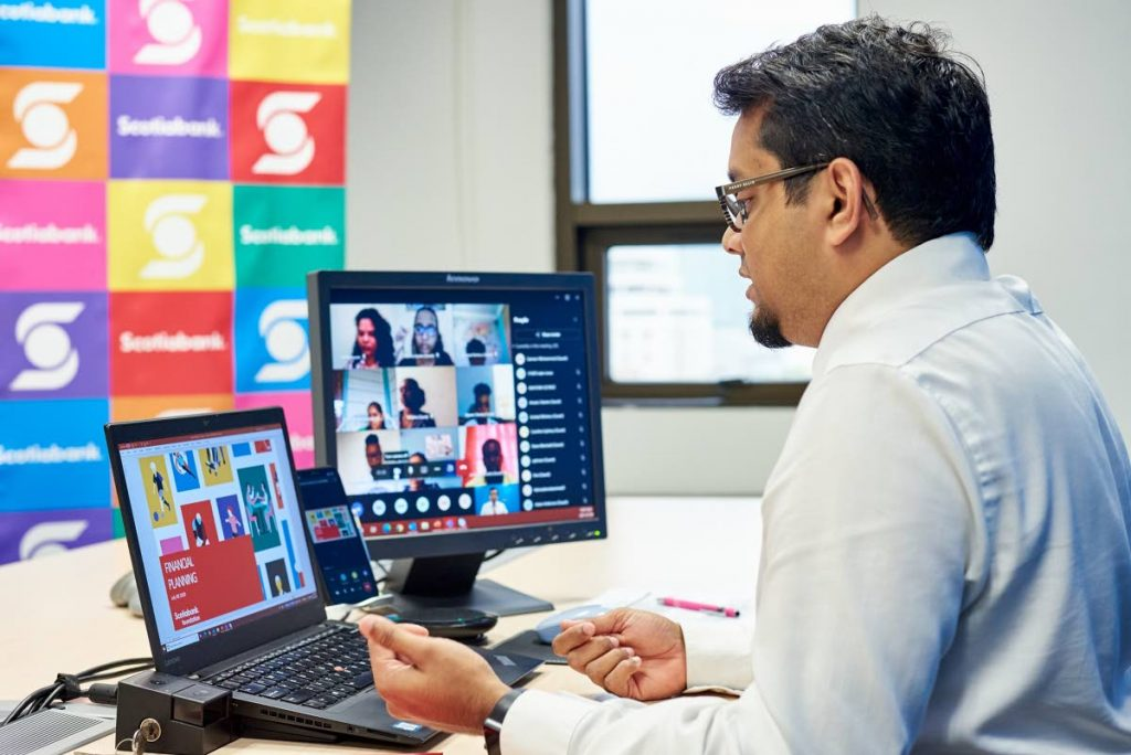 INTERACTION: Sameer Mohammed, Scotiabank's Chief Accountant and Comptroller during a virtual financial planning workshop during the 2021 edition of the Families in Action Adulting 101 Programme, sponsored by Scotiabank. PHOTO COURTESY SCOTIABANK -