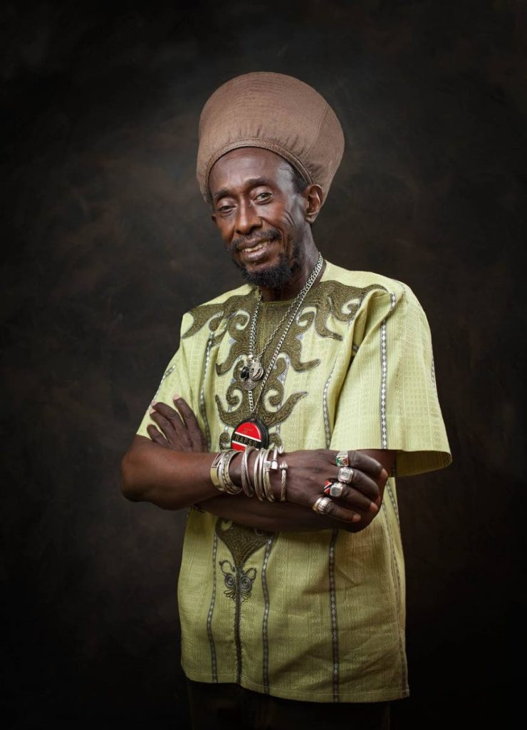 Portrait of Brother Resistance done backstage at the Kaiso House calypso tent in 2020. Photo by Mark Lyndersay
