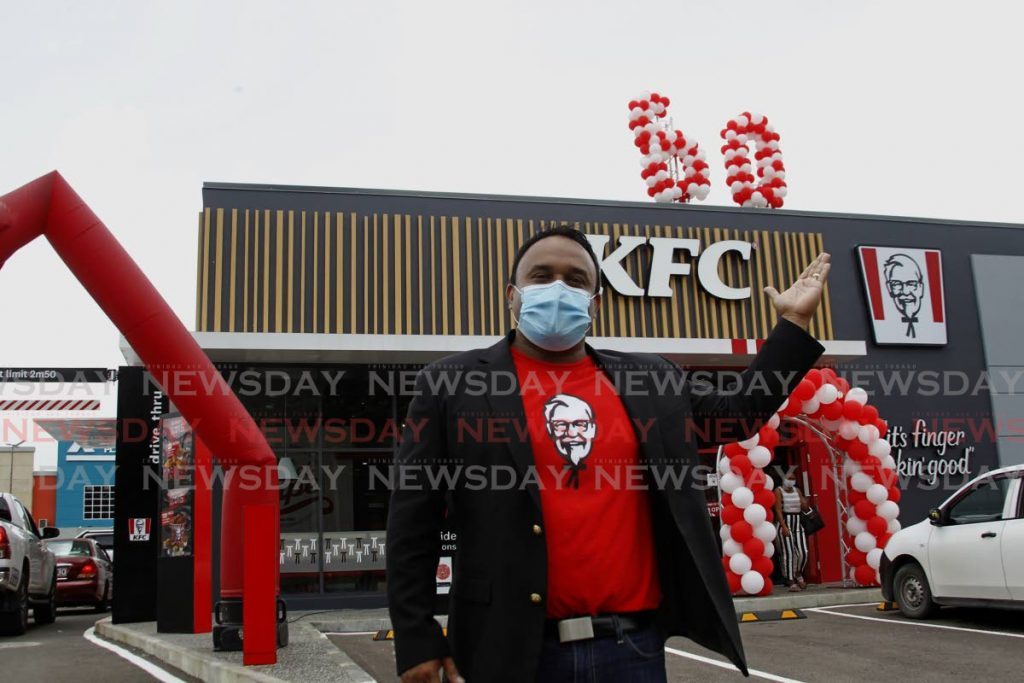 KFC vice president Roger Rambhrose during the official opening of the 60th KFC location in Guiaco, Sangre Grande. - Photo by Roger Jacob