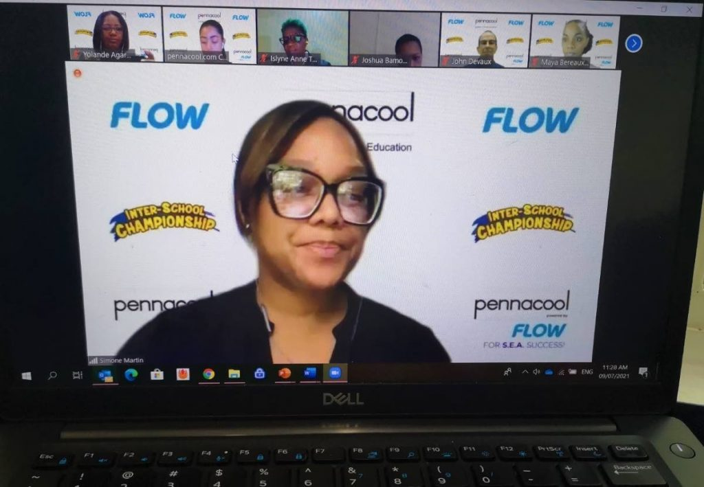 Simone Martin-Sulgan, vice president, Flow as she delivers the Sponsors Address at the Virtual Inter-School Championship Awards function. -