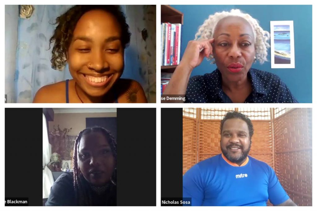 Judges for National Poetry Slam auditions 2021 are, clockwise from top left, Arielle John, Denise Demming, Nicholas Sosa and Marge Blackman. -