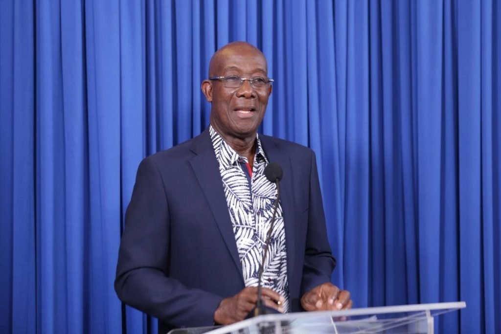 THE PLAN: Prime Minister Dr Keith Rowley speaks to the media at Thursday's post-Cabinet news conference at the Prime Minister's Residence in Blenheim, Tobago. - OFFICE OF THE PRIME MINISTER
