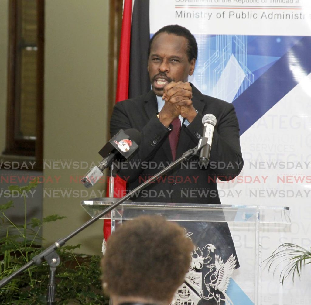 Fitzgerald Hinds, Minister of National Security and MP for Laventille East Morvant, addresses the gathering at the offical signing and key ceremony for three prominent cultural performing groups in the Morvant community, NALIS Old Fire Station Building, Aberombry Street Port of Spain. - Photo by Roger Jacob
