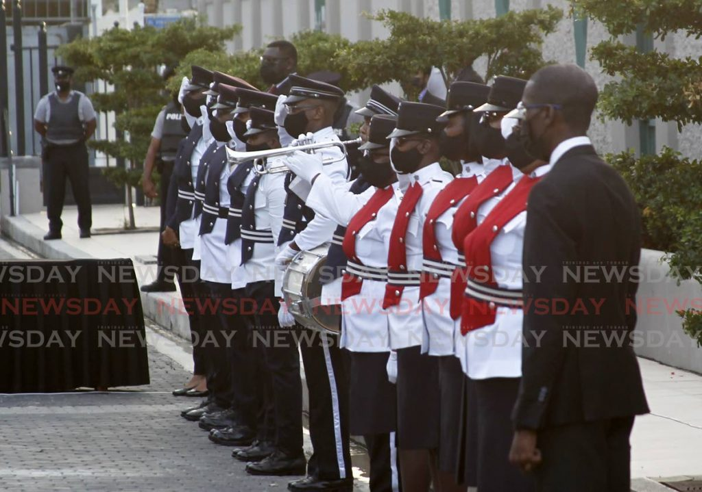Honor guard comprising members of the Trinidad and Tobago Police Service at the 31st Anniversary Memorial in honor of the victims of the attempted coup on Friday 27th July 1990 held on Tuesday evening at the Red House. Photo by Roger Jacob
