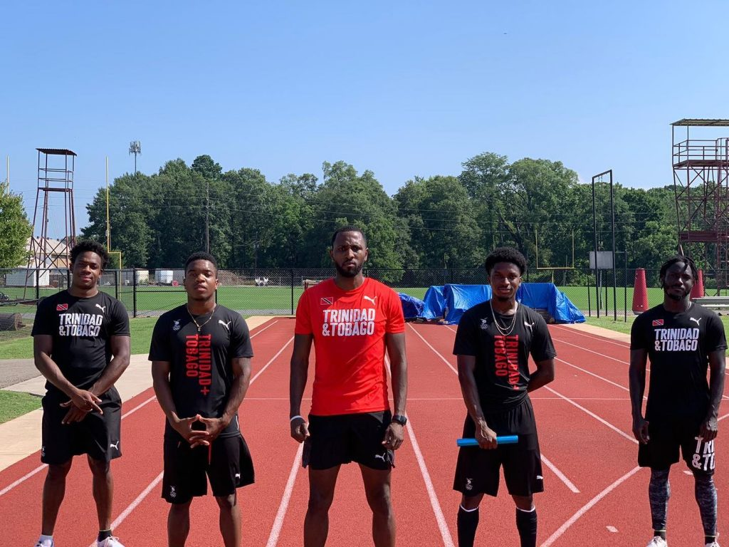TORPEDO OUT: TT's men's Olympic 4x100m team, from left, Akanni Hislop, Eric Harrison, Richard