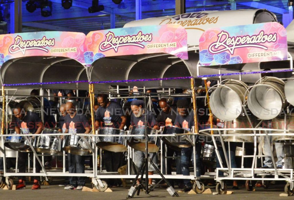 Desperadoes Steel Orchestra during a Panorama performance. The champion band is mourning the loss of long-standing female player Ursula Tudor who died on Thursday. File photo -