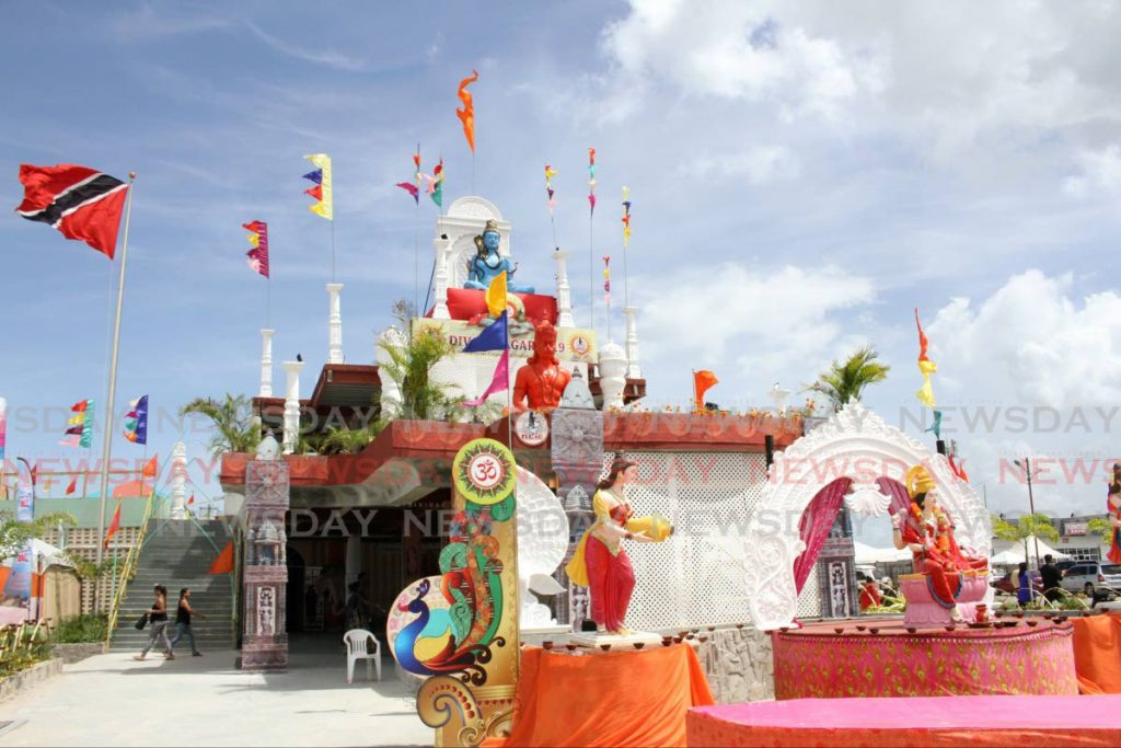 Murtis of Hindu deities at the entrance of the Divali Nagar site in Chaguanas. The annual celebration of Hindu culture will take place in Ocotber this year, after being cancelled in 2020 owing to the covid19 pandemic. - Photo by Angelo Marcelle