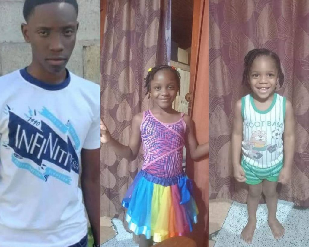 From left, Ezekiel, 17, Faith, six, and Kayden Burke, three, died trying to escape from a fire at their home.