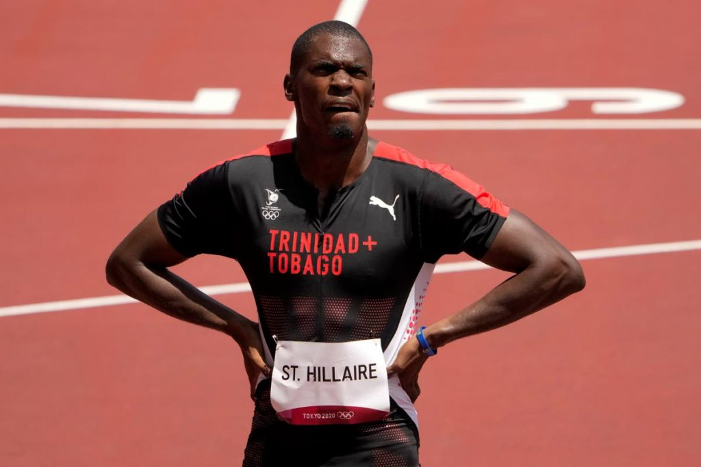 TT's Dwight St Hillaire reacts after competing in a first round heat in the men's 400 metres at the 2020 Summer Olympics, on Sunday, in Tokyo. (AP PHOTO) -