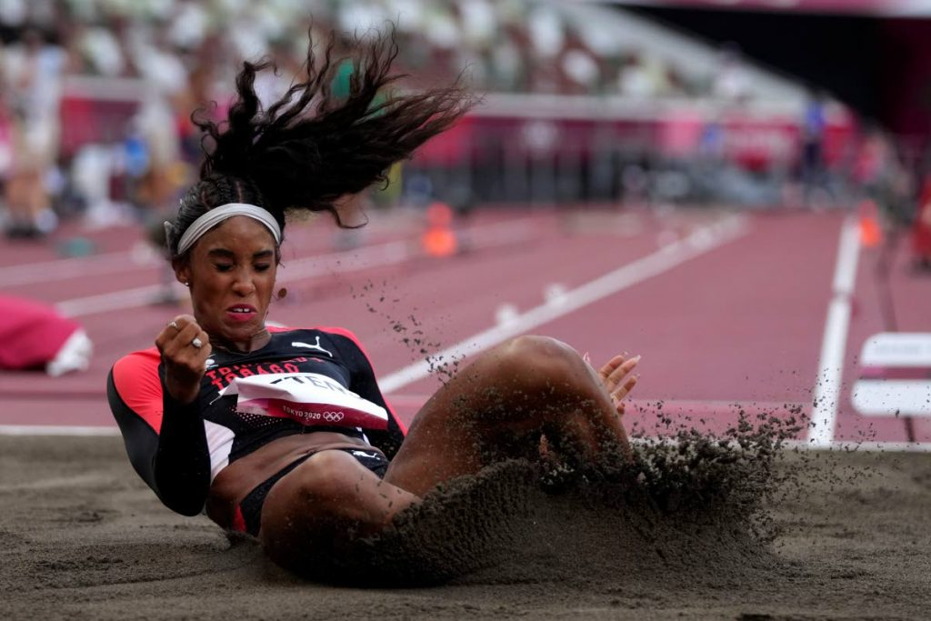 Tyra Gittens competes in the qualification rounds of the women's long jump at the 2020 Summer Olympics, Sunday, in Tokyo. (AP) -