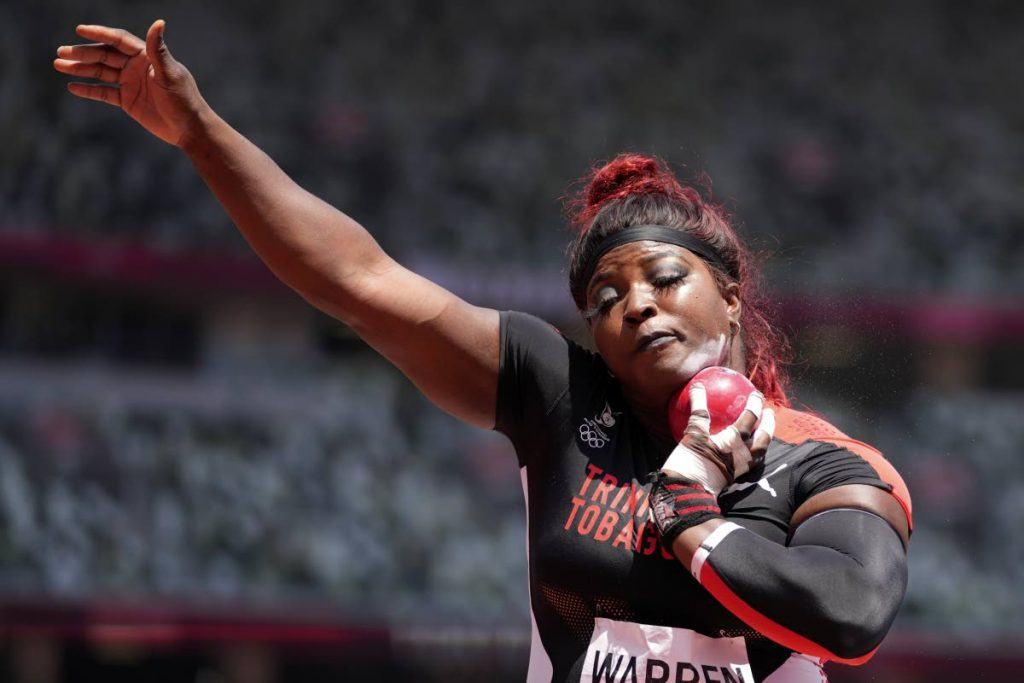 Portious Warren, of Trinidad and Tobago, placed 11th in the final of the Olympic women's shot put, Sunday, in Tokyo.  - AP