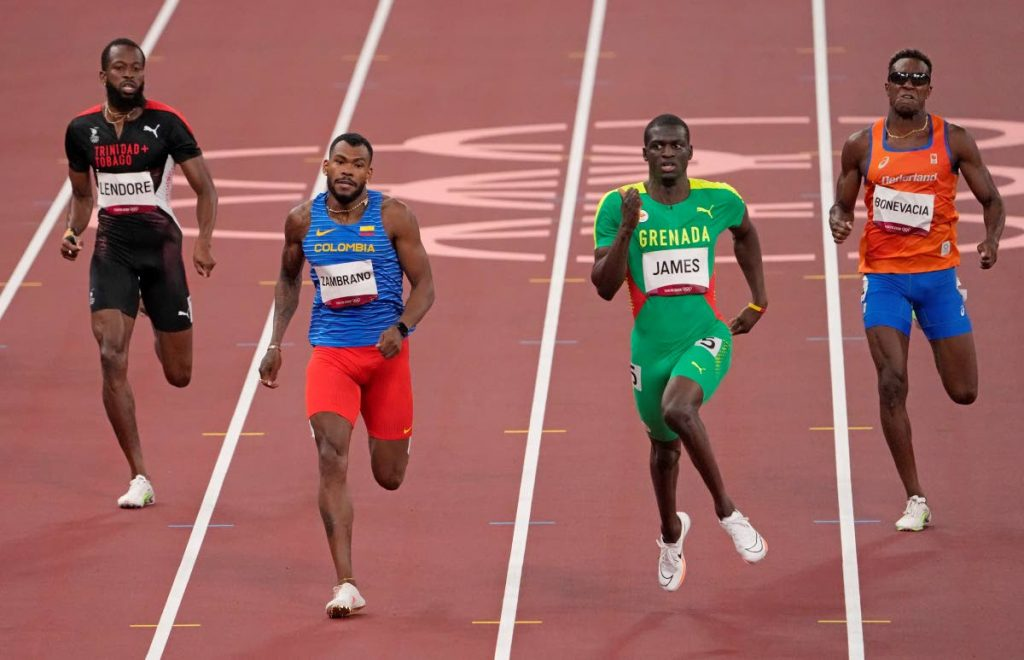 (Left-right) Deon Lendore, of Trinidad and Tobago; Anthony Zambrano, of Colombia; Kirani James, of Grenada and Liemarvin Bonevacia, of Netherlands compete in a men's 400-metre semifinal heat at the 2020 Summer Olympics, on Monday, in Tokyo, Japan. (AP PHOTO) -