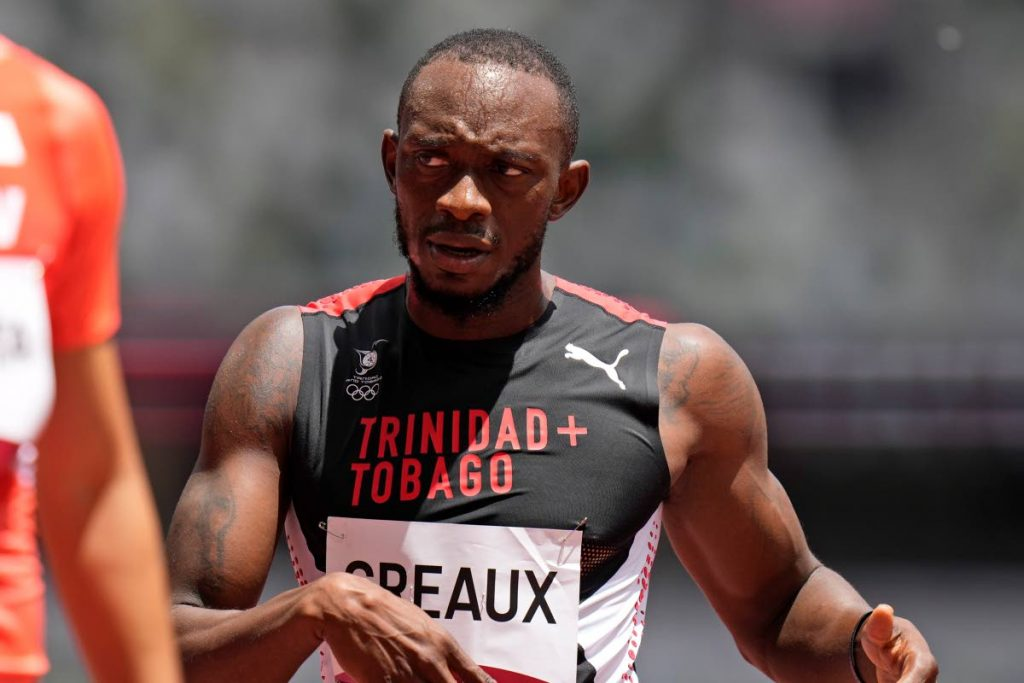 Trinidad and Tobago's Kyle Greaux reacts after his preliminary round heat of the men's 200-metres at the 2020 Summer Olympics, on Tuesday (Monday night TT time), in Tokyo. (AP PHOTO) -
