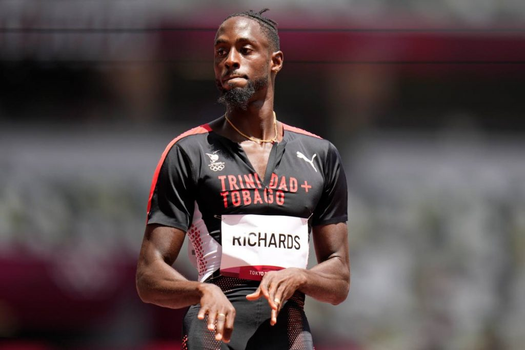 Jereem Richards, of Trinidad and Tobago, reacts after his heat of the men's 200-meters at the 2020 Summer Olympics, Tuesday, Aug. 3, 2021, in Tokyo. (AP Photo/Petr David Josek)