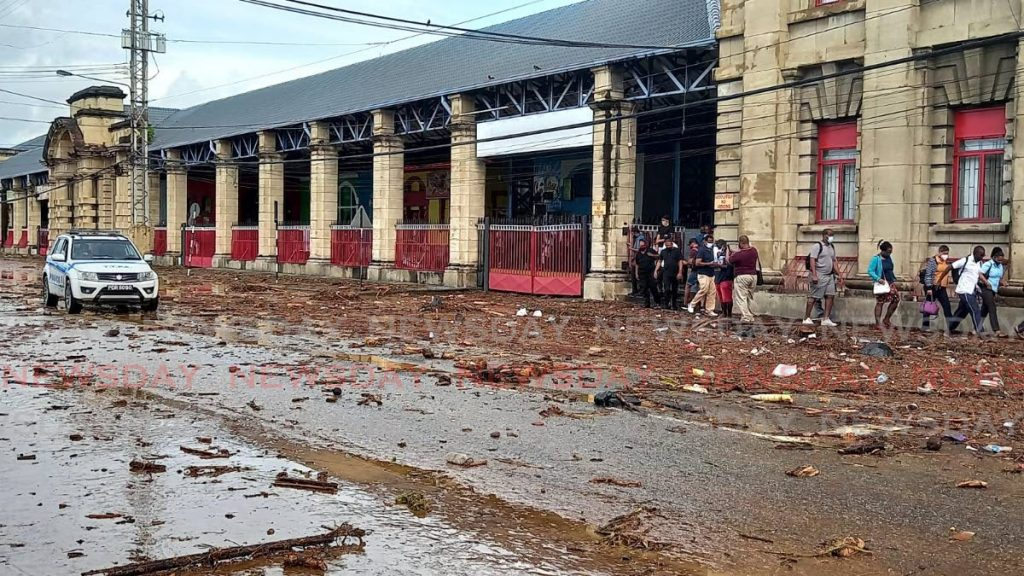 Rubble, garbage and mud surrounded City Gate in Port of Spain after heavy rainfall on Tuesday - Photo by Grevic Alvarado