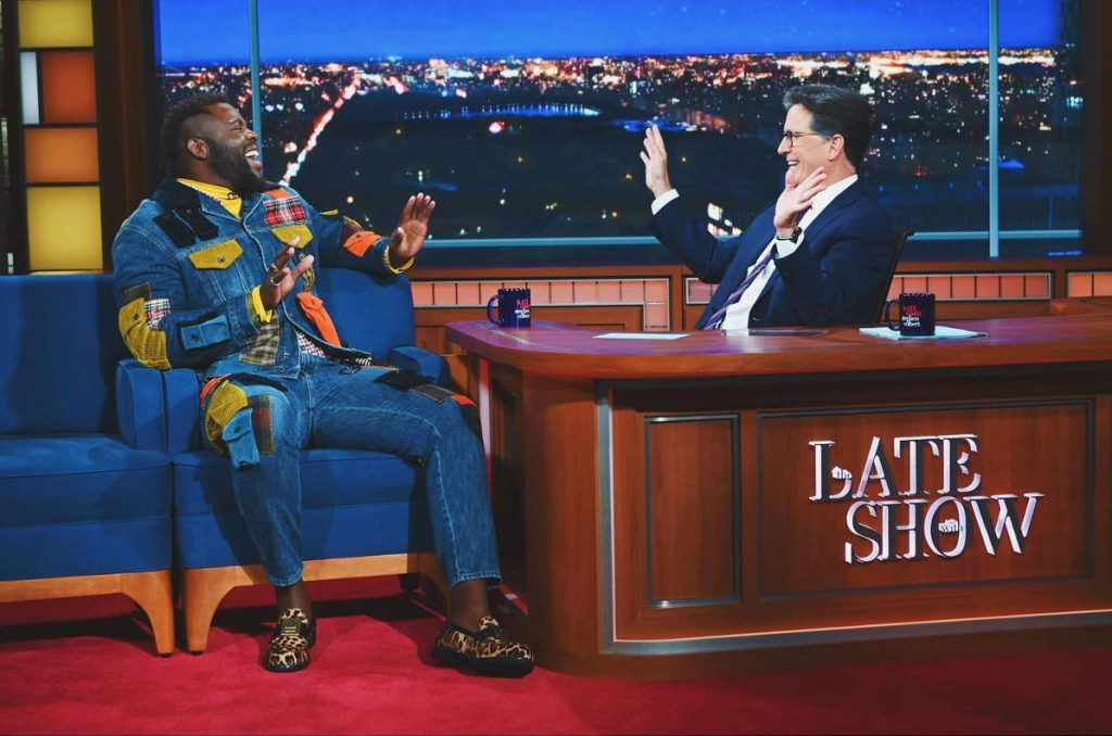 Tobago-born actor Winston Duke in his appearance on the talk show Late Night with Stephen Colbert. Duke spoke about the TT