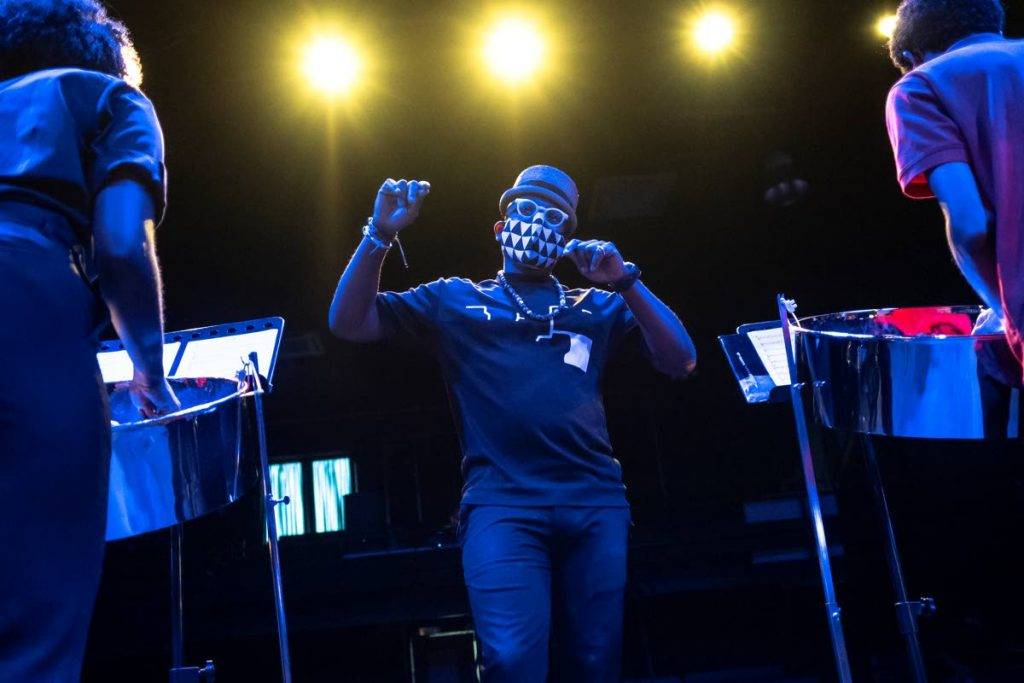 Etienne Charles conducting the band during the recording session.  - Courtesy Maria Nunes