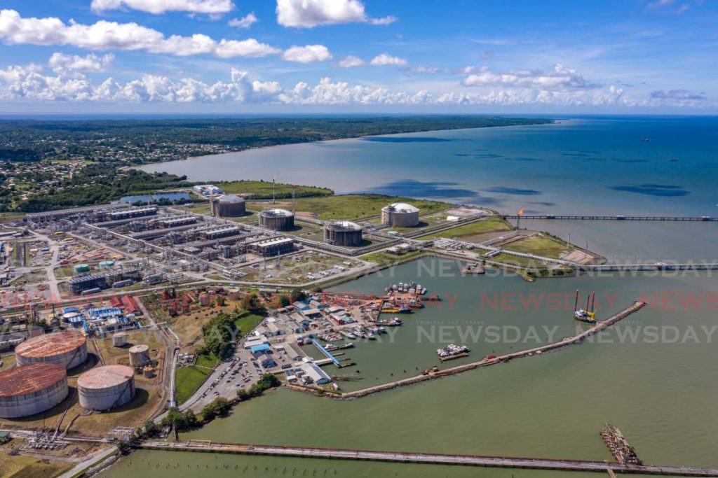 An aerial view of Heritage Petroleum storate tanks, left, and Atlantic LNG in Point Fortin.  Photo by Jeff K Mayers