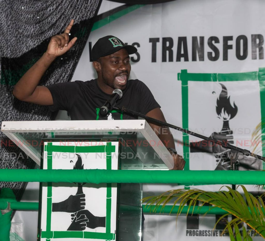 FILE PHOTO: PDP deputy leader Farley Augustine at a political meeting at Signal Hill Recreation Ground earlier this year. -
