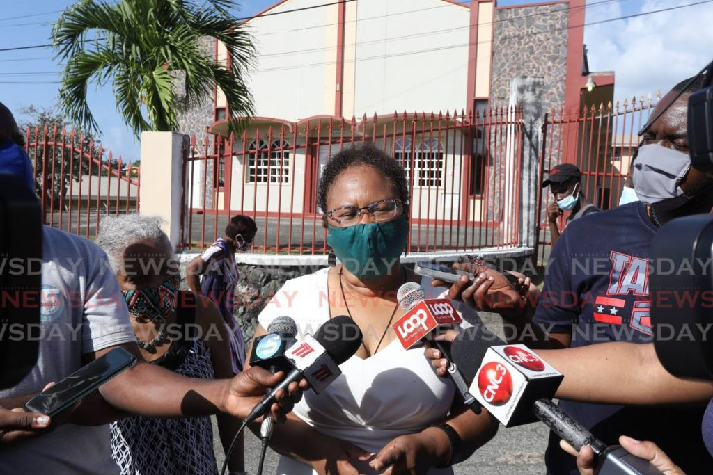 FILE PHOTO: Innovative Democratic Alliance political leader Dr Denise Tsoiafatt Angus speaks to the media after voting in the THA elections on January 25, 2021. -