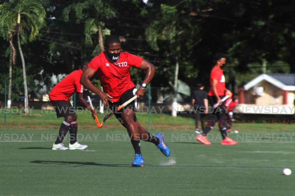(FILE) Trinidad and Tobago's Under 21 Junior me's hockey team during a practise game at the Police Barracks, St James. - Photo by Marvin Hamilton