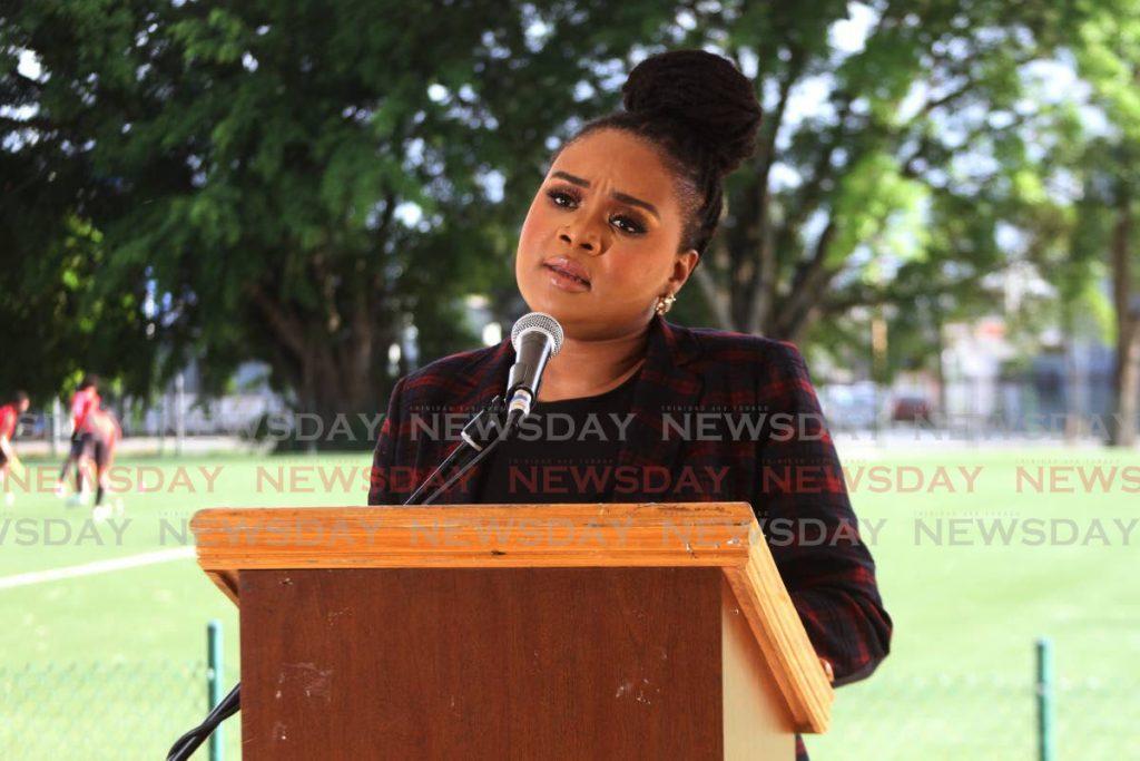 Sport Minister Shamfa Cudjoe. Photo by Marvin Hamilton - Marvin Hamilton