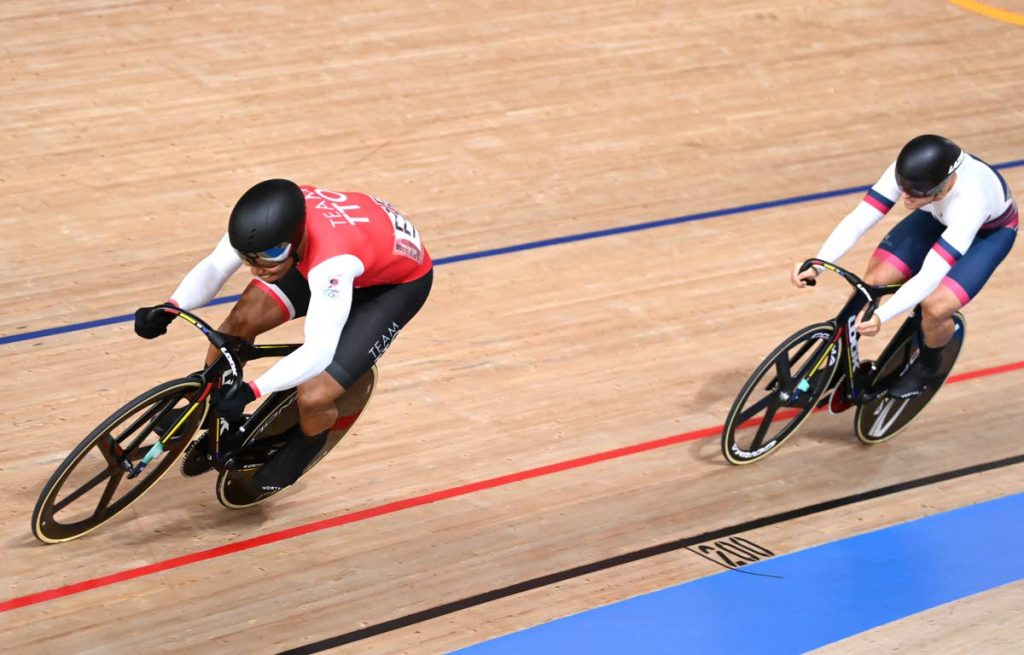 (FILE) Trinidad and Tobago's Nicholas Paul (left) won gold, on Saturday, at the 2021 UCI Track Cycling Nations Cup, in Cali, Colombia, with a victory in the men's keirin final.  -