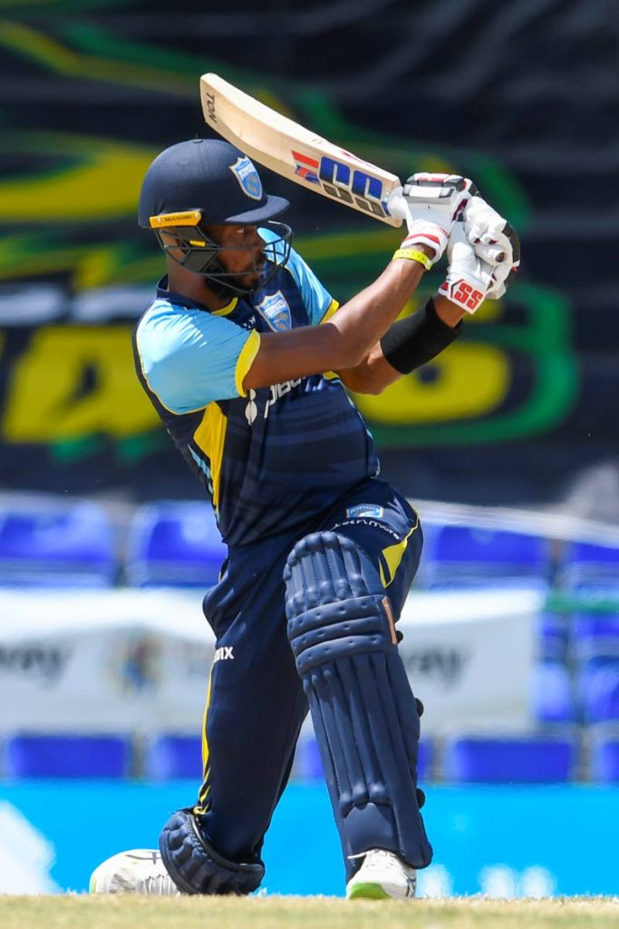 Roston Chase of Saint Lucia Kings hits a six to bring up his half century during the 2021 Hero Caribbean Premier League match 13 against Guyana Amazon Warriors at Warner Park Sporting Complex on September 2, in Basseterre, St Kitts. - Photo courtesy CPL T20