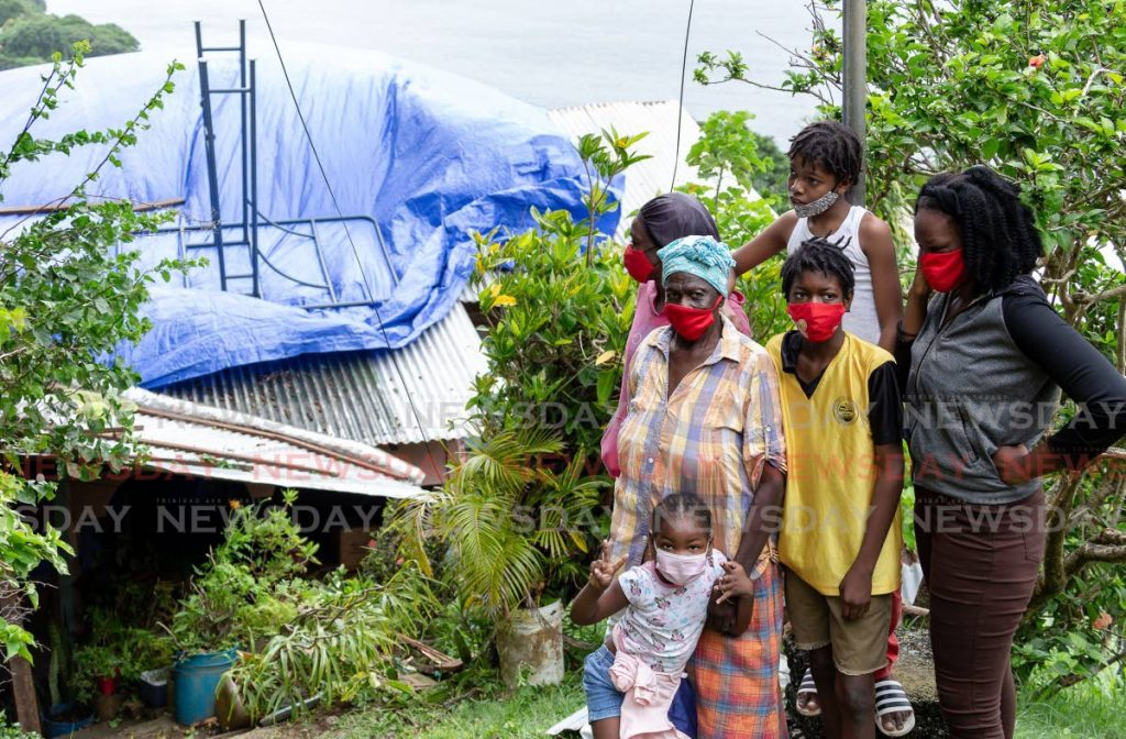 Pensioner Ruby Solomon lost the roof of her Mt St George, Tobago home early Friday morning. Strong winds accompanying bad weather early Friday morning sent the family of 12 scampering for safety.  -Photo by David Reid