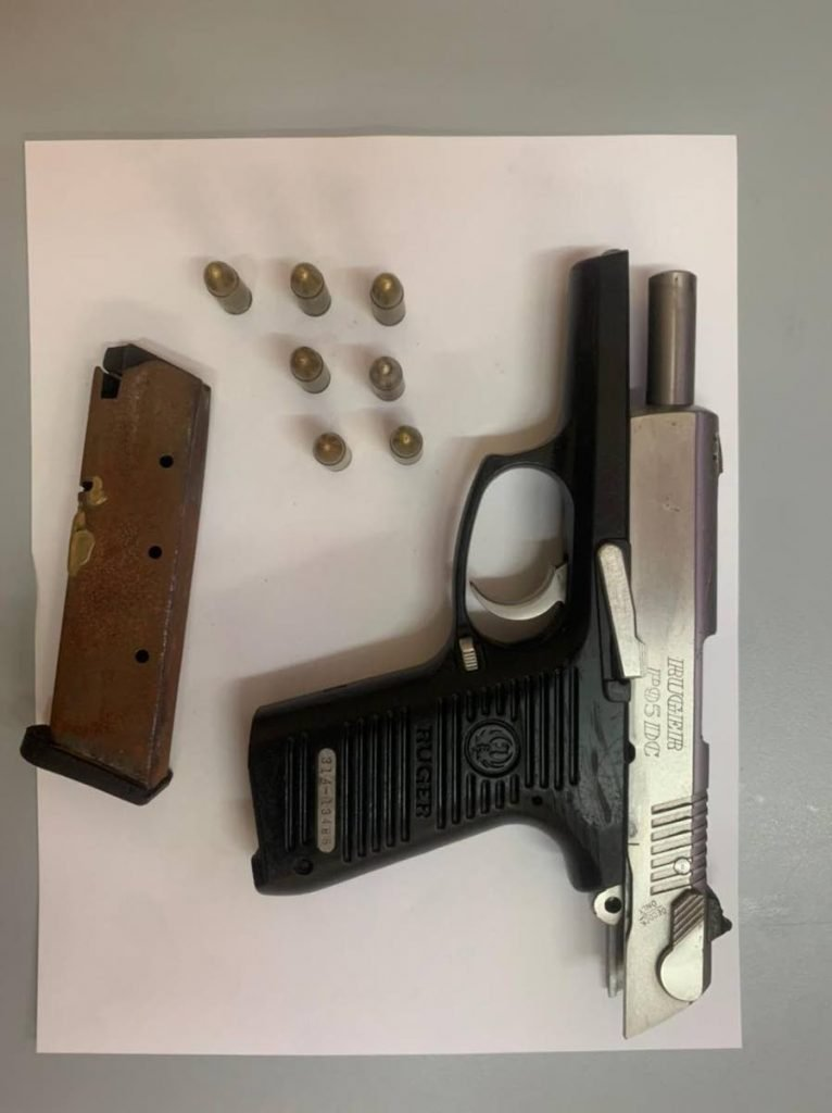 PC Shah found and seized a silver and black gun with a magazine and seven rounds of 9 mm ammunition -