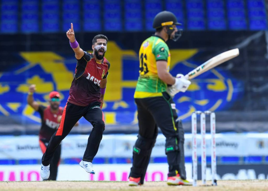 Ali Khan (L) of Trinbago Knight Riders celebrates the dismissal of Haider Ali (R) of Jamaica Tallawahs during the 2021 Hero Caribbean Premier League match 19 between Jamaica Tallawahs and Trinbago Knight Riders at Warner Park Sporting Complex on  Tuesday, in Basseterre, St Kitts. - Photo courtesy CPL T20