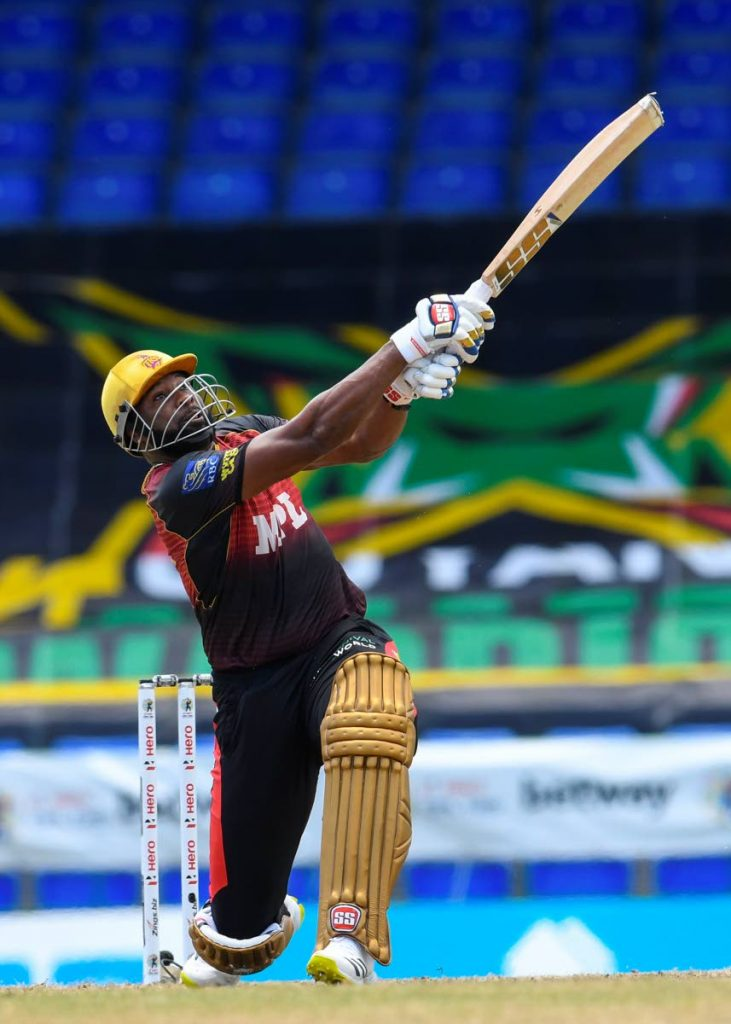 Kieron Pollard of Trinbago Knight Riders hits a six during the 2021 Hero Caribbean Premier League match 19 between Jamaica Tallawahs and Trinbago Knight Riders at Warner Park Sporting Complex on Tuesday in Basseterre, St Kitts. (Photo by CPL T20) -