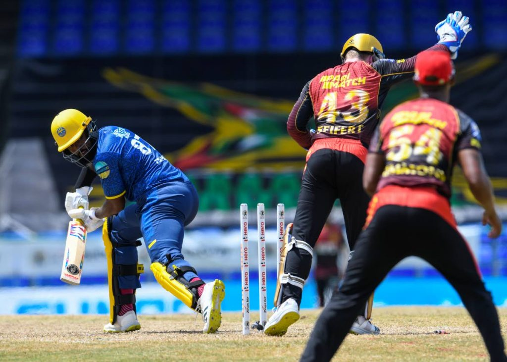 Raymon Reifer (L) of Barbados Royals is bowled by Sunil Narine (not in photo) of Trinbago Knight Riders during the 2021 Hero Caribbean Premier League match 23 at Warner Park Sporting Complex on Thursday, in Basseterre, St Kitts. - Photo courtesy CPL T20