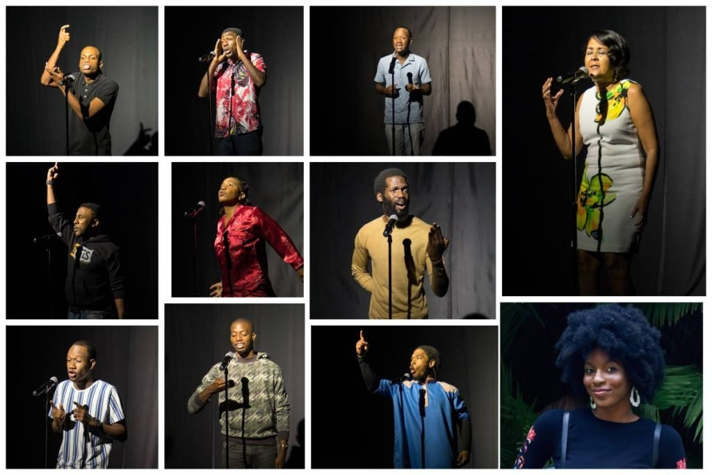 The 11 finalists in the FCB Nationa Poetry Slam competition at their recording for the semi-final rounds in August 2021. In top row: Renaldo Briggs, Michael Logie, Terriq Betaudier and Shivana Sharma.  Middle row: Ronaldo Mohammed, Zakiya Gill and Derron Sandy. Bottom row: Terryl Betaudier, Seth Sylvester, Abdul Majeed Abdal Karim, and defending champion, Alexandra Stewart. -
