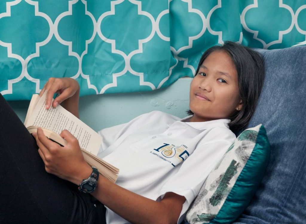 Brooke Chong-Ashing has started form two at St Joseph's Convent without ever going into school for a full school year in form one.  - Mark Lyndersay