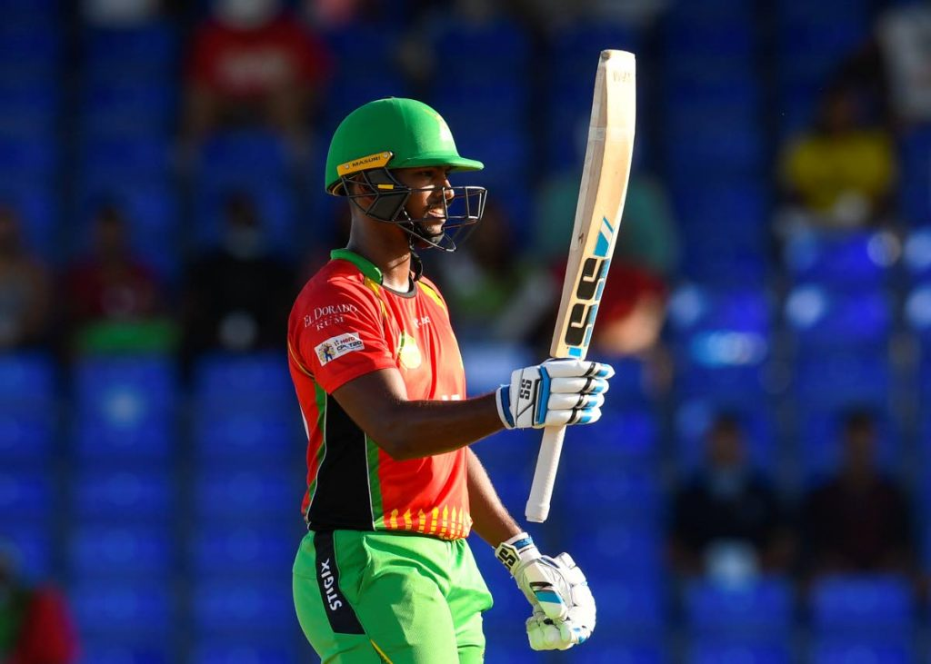 Nicholas Pooran of Guyana Amazon Warriors celebrates his half century during the2021 Hero Caribbean Premier League match 26 against Jamaica Tallawahs at Warner Park Sporting Complex on September 11, in Basseterre, St Kitts. Photo courtesy CPL T20