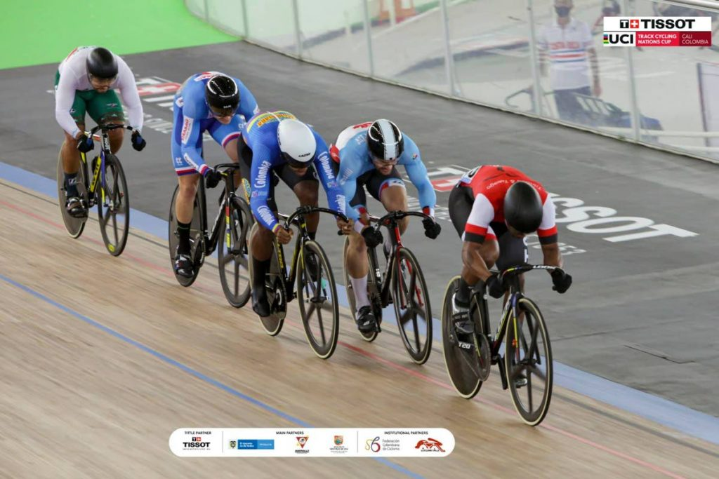 TT's Nicholas Paul in action during his golden performance in the men's keirin finals at the UCI Track Cycling Nations Cup in Cali, Colombia.  - UCI