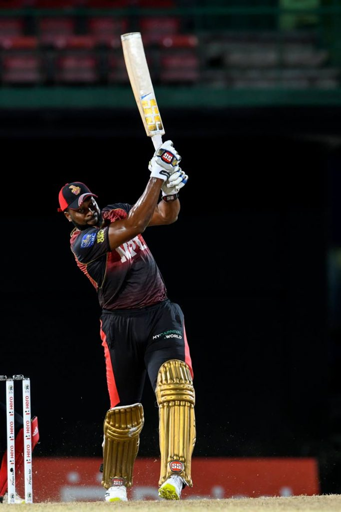 Kieron Pollard of Trinbago Knight Riders hits a six during the 2021 Hero Caribbean Premier League match 30 between St Kitts/Nevis Patriots and Trinbago Knight Riders at Warner Park Sporting Complex in Basseterre, St Kitts on Sunday. (Photo by CPL T20/Getty Images)