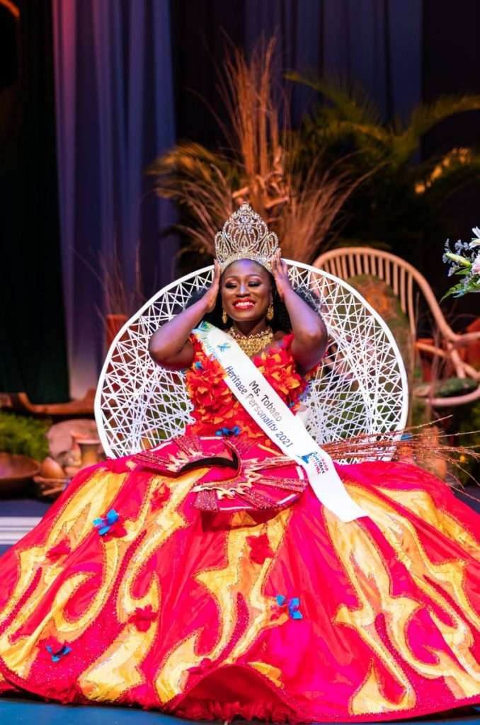 Janae Campbell holds the crown after being named Miss Tobago Heritage Personality 2021 on Saturday in a pre-recorded show at the Shaw Park Cultural Complex.  - Photo courtesy Tobago Festivals