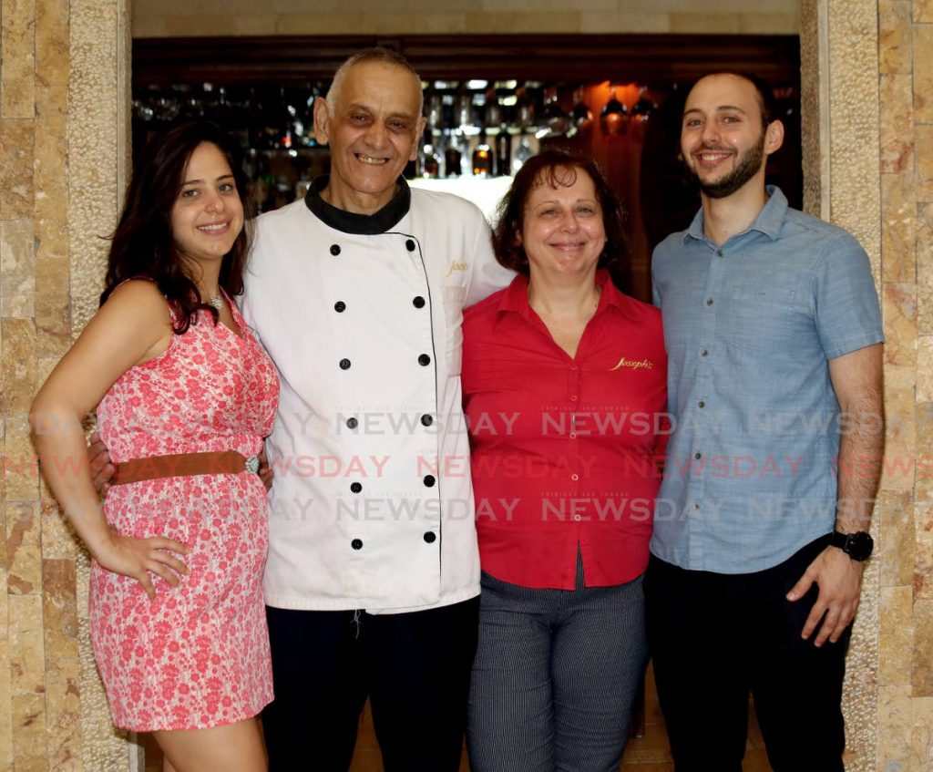 Joseph Habr, his wife, Helen and their children, Marie-Anne and Maurice, who will take over the family's culinary business Joseph's Restaurant in 2022.  - PHOTO BY SUREASH CHOLAI
